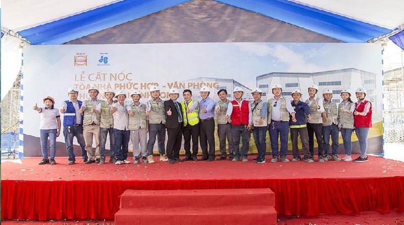 Hòa Bình cất nóc đúng tiến độ Tòa nhà phức hợp VP-TM Vĩnh Long