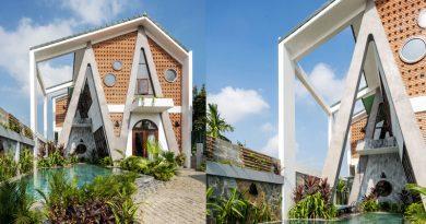 Ngôi nhà cột nghiêng cạnh rừng dừa