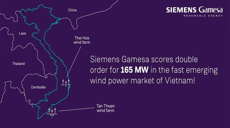 Siemens Gamesa Secures two order totaling 165MW from Vietnam